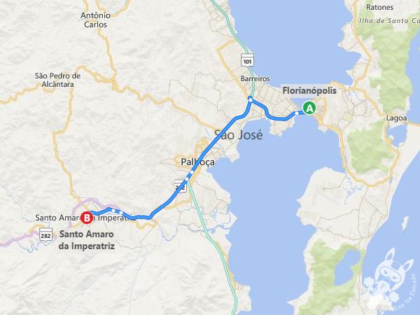 Rota: Florianópolis - SC a Santo Amaro da Imperatriz - SC