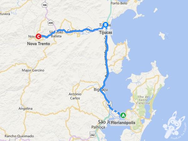 Rota: Florianópolis - SC à Nova Trento - SC