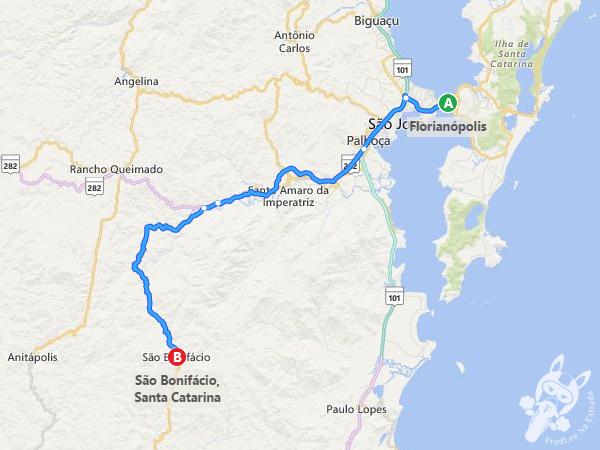 Rota: Florianópolis - SC a São Bonifácio - SC