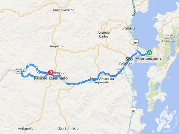 Rota: Florianópolis - SC a Rancho Queimado - SC
