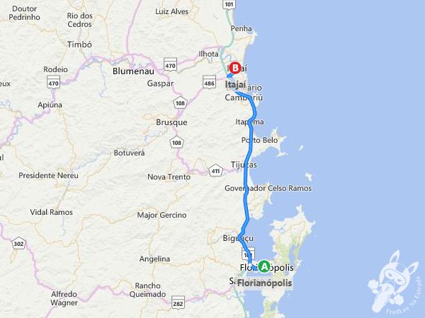 Trajeto de Florianópolis - SC a Itajaí - SC | FredLee Na Estrada