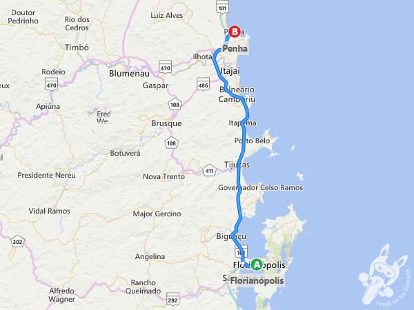 Rota: Florianópolis - SC a Penha - SC