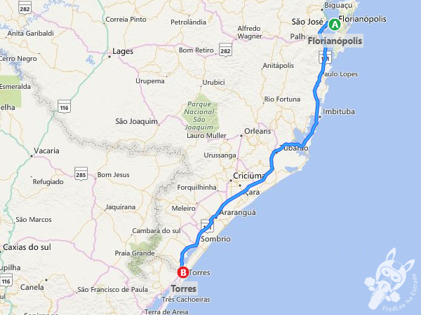 Rota: Florianópolis - SC a Torres - RS