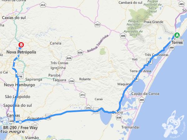 Rota: Torres - RS a Nova Petrópolis - RS
