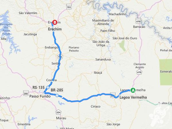 Rota: Lagoa Vermelha - RS à Erechim - RS