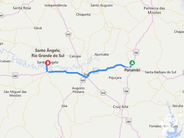 Rota: Panambi - RS à Santo Ângelo - RS