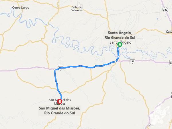 Rota: Santo Ângelo - RS a São Miguel das Missões - RS