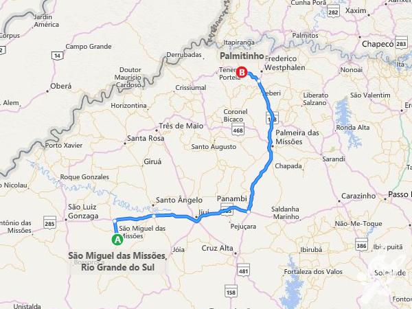 Rota: São Miguel das Missões - RS à Palmitinho - RS