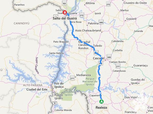 Rota: Realeza - PR a Salto del Guairá - Paraguai