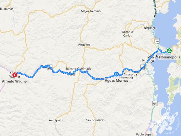 Rota: Florianópolis - SC a Águas Mornas - SC a Alfredo Wagner - SC