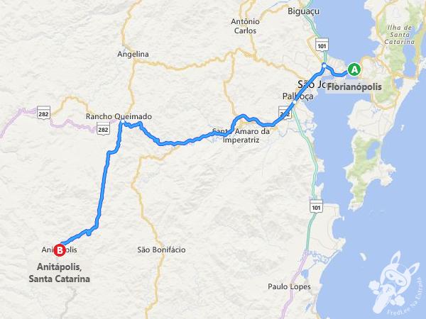 Rota: Florianópolis - SC a Anitápolis - SC
