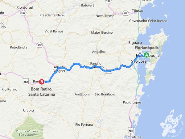 Rota: Florianópolis - SC a Bom Retiro - SC