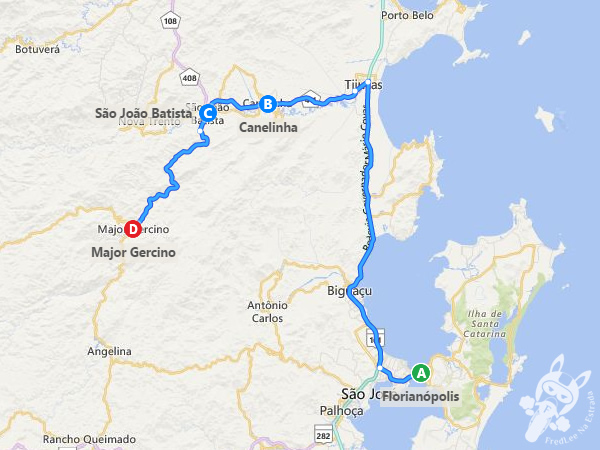 Rota: Florianópolis - SC a Canelinha, São João Batista e Major Gercino - SC