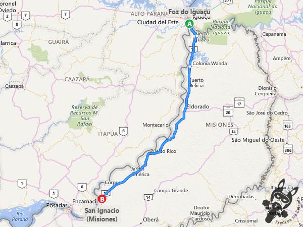 Trajeto de Foz do Iguaçu - PR a San Ignacio - Misiones - Argentina | FredLee Na Estrada