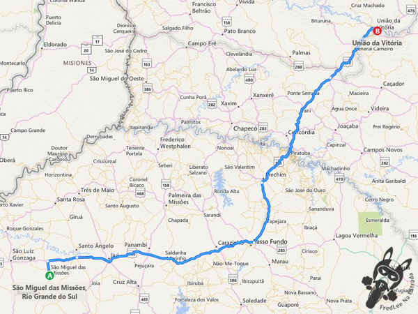 Trajeto entre São Miguel das Missões - RS e União da Vitória - PR
