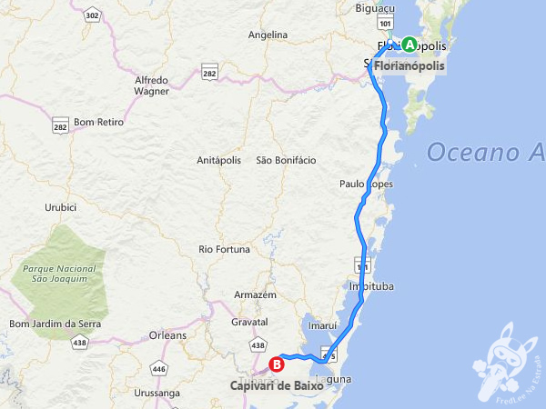 Trajeto de Florianópolis - SC a Capivari de Baixo - SC