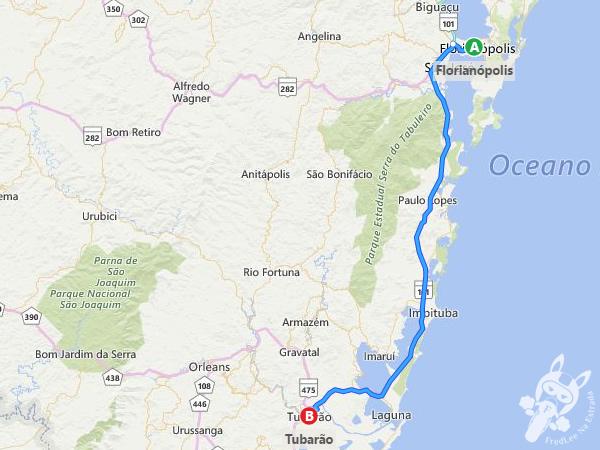 Trajeto de Florianópolis - SC a Tubarão - SC