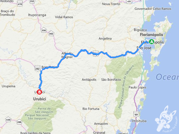 Trajeto de Florianópolis - SC à Urubici - SC