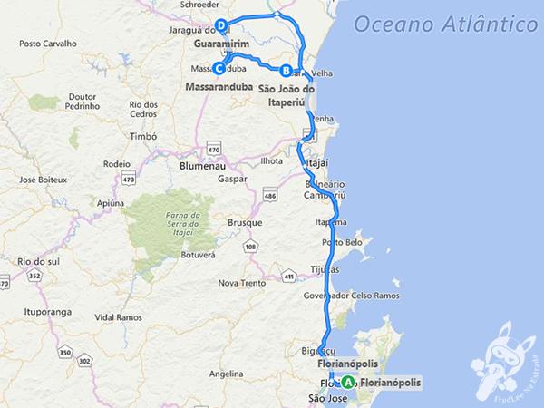 Trajeto de Florianópolis a São João do Itaperiú, Massaranduba e Guaramirim