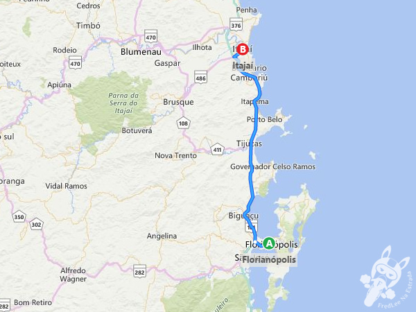 Trajeto de Florianópolis - SC à Itajaí - SC