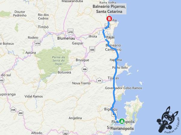 Trajeto de Florianópolis - SC a Balneário Piçarras - SC