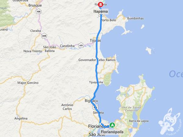 Trajeto de Florianópolis - SC à Itapema - SC