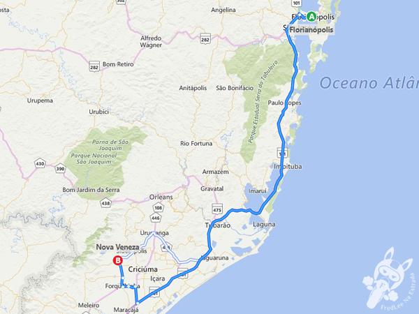 Trajeto de Florianópolis - SC a Nova Veneza - SC