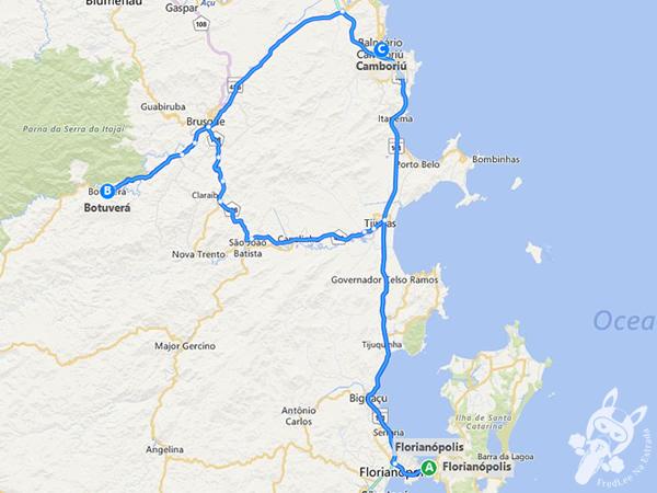 Trajeto de Florianópolis - SC a Botuverá - SC
