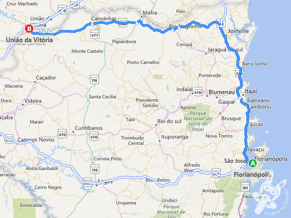 Trajeto entre Florianópolis - SC e Porto União - SC