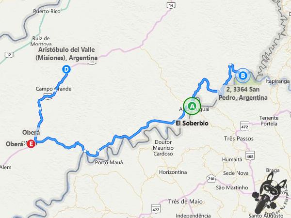 Trajeto entre El Soberbio - Misiones - Argentina a Oberá - Misiones - Argentina