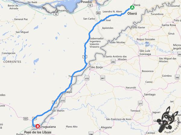 Trajeto entre Oberá - Corrientes - Argentina e Paso de Los Libres - Corrientes - Argentina   FredLee Na Estrada