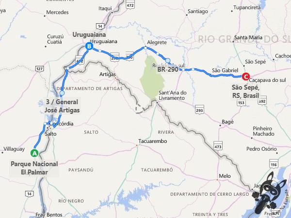 Trajeto entre Parque Nacional El Palmar - Ubajay - Entre Ríos - Argentina e São Sepé - Rio Grande do Sul - Brasil | FredLee Na Estrada