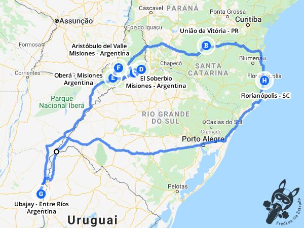 Mapa da Expedição 2017: El Palmar - Moconá   FredLee Na Estrada