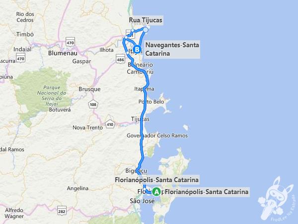 Trajeto entre Florianópolis - SC e Navegantes - SC