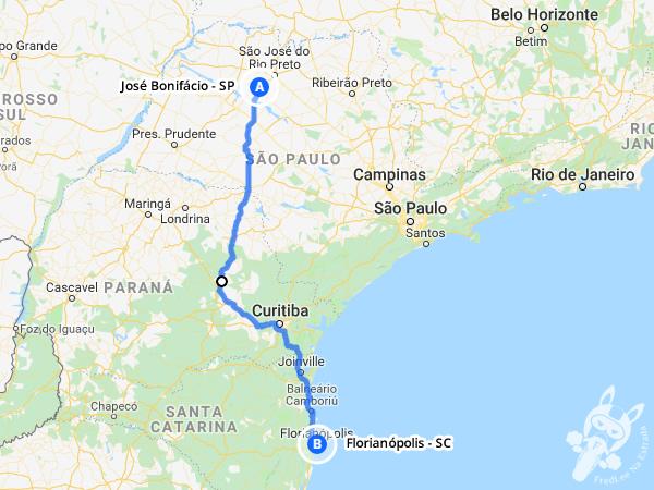 Trajeto de José Bonifácio - SP a Florianópolis - SC | FredLee Na Estrada