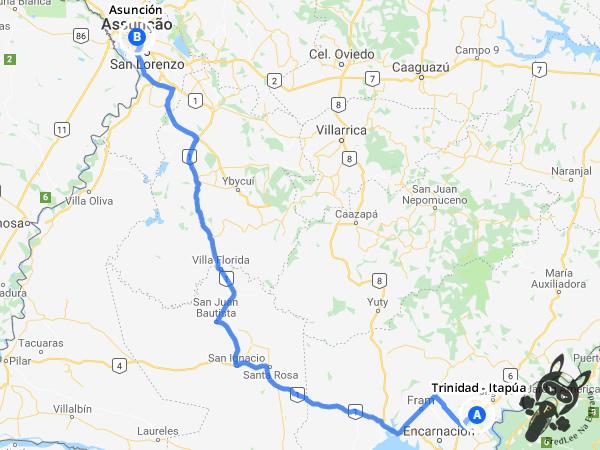 Trajeto entre Trinidad - Itapúa e Asunción - Paraguai | FredLee Na Estrada