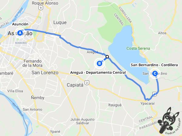 Trajeto de Asunción para San Bernardino - Cordillera passando por Areguá - Departamento Central - Paraguai | FredLee Na Estrada