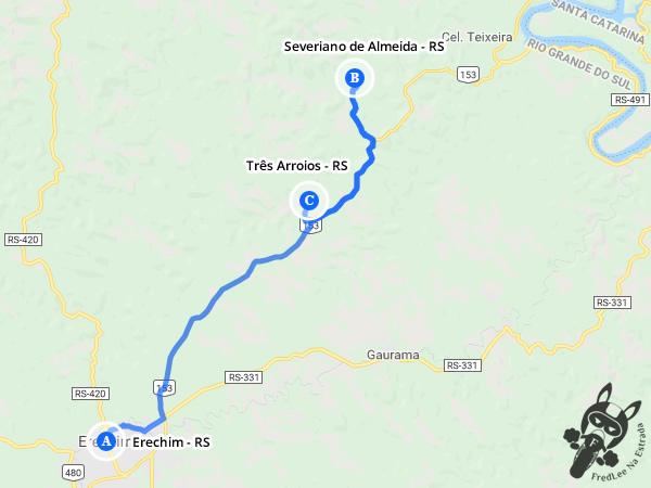 Trajeto de Erechim - RS a Severiano de Almeida - RS e Três Arroios - RS | FredLee Na Estrada
