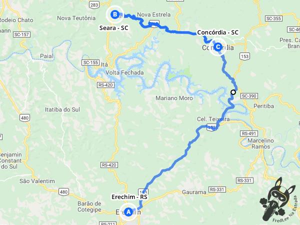 Trajeto de Erechim - RS a Seara - SC e Concórdia - SC | FredLee Na Estrada