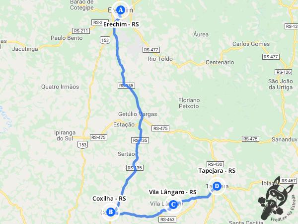 Trajeto entre Erechim - RS e Tapejara - RS passando por Coxilha - RS e Vila Lângaro - RS | FredLee Na Estrada
