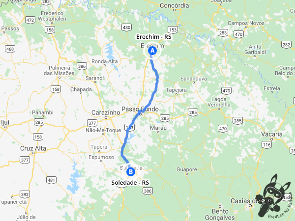 Trajeto entre Erechim - RS e Soledade - RS | FredLee Na Estrada