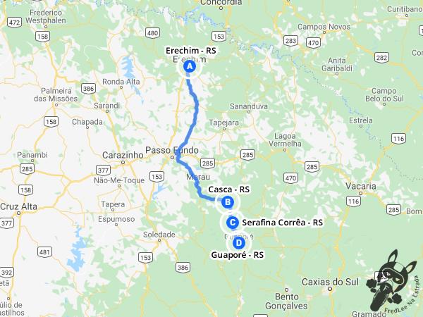 Trajeto de Erechim - RS a Guaporé - RS passando por Casca - RS e Serafina Corrêa - RS | FredLee Na Estrada