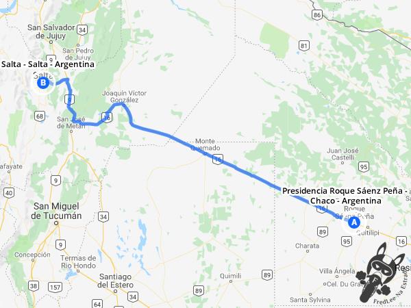 Trajeto de Presidencia Roque Sáenz Peña - Chaco - Argentina a Salta - Salta - Argentina | FredLee Na Estrada