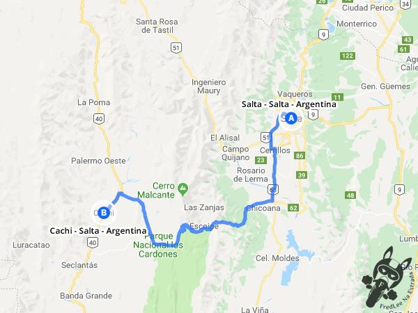 Trajeto de Salta - Salta - Argentina a Cachi - Salta - Argentina | FredLee Na Estrada