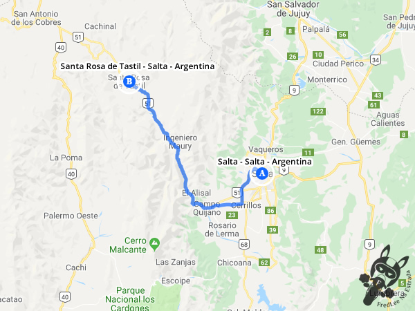 Trajeto de Salta - Salta - Argentina a Santa Rosa de Tastil - Salta - Argentina | FredLee Na Estrada