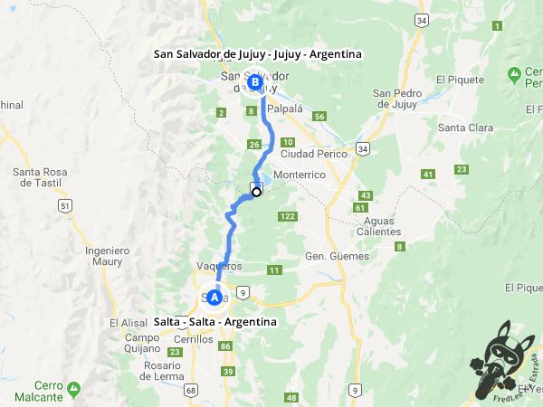 Trajeto de Salta - Salta - Argentina a San Salvador de Jujuy - Jujuy - Argentina | FredLee Na Estrada