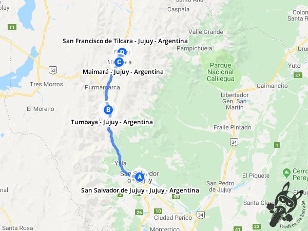 Trajeto de San Salvador de Jujuy - Jujuy - Argentina a San Francisco de Tilcara - Jujuy - Argentina | FredLee Na Estrada