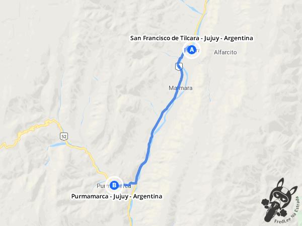 Trajeto de San Francisco de Tilcara - Jujuy - Argentina a Purmamarca - Jujuy - Argentina | FredLee Na Estrada