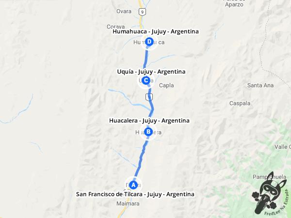 Trajeto de San Francisco de Tilcara - Jujuy - Argentina a Humahuaca - Jujuy - Argentina | FredLee Na Estrada