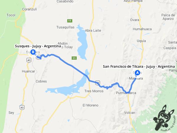 Trajeto de San Francisco de Tilcara - Jujuy - Argentina a Susques - Jujuy - Argentina | FredLee Na Estrada